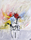 vase flowers white silver blue red yellow painting